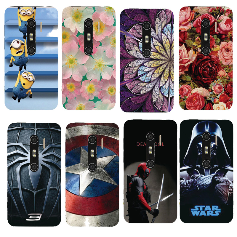 Phone Case For HTC EVO 3D X515 G17 New Arrival Cute Minions Batman Supeman Painted Printed Phone Skin Cover(China (Mainland))