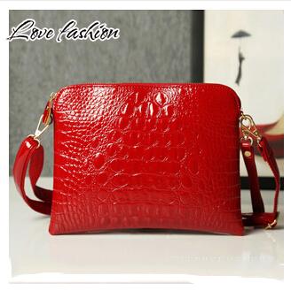 New Promotion 2015 fashion pu Leather Crocodile pattern Women Handbag Shoulder Bag female Messenger Bag ladies