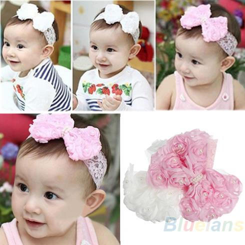 Cute Baby Girl Kid Toddler Pearl Headband Headwear Hat Accessories Rose Bow Lace Hairband Flower Headdress 1GYK(China (Mainland))