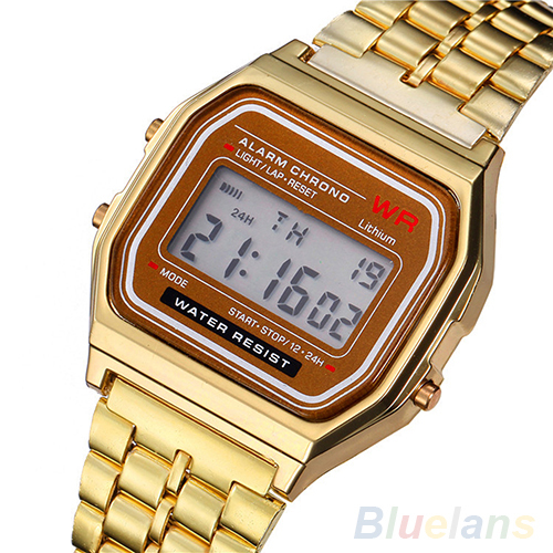 Men Women Vintage Stainless Steel LED Digital Stopwatch Sports Wristwatches 1LYH