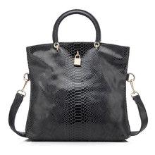 Mais real mulher bolsa de couro genuíno sacos fêmea cobra padrão tote saco bolsas couro qualidade superior noite embreagem bolsa ombro(China)