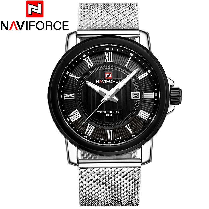NAVIFORCE Luxury Brand Analog Date Men's Quartz Watch Casual Watches Men Wristwatch Stainless Steel Strap Silver mesh band(China (Mainland))