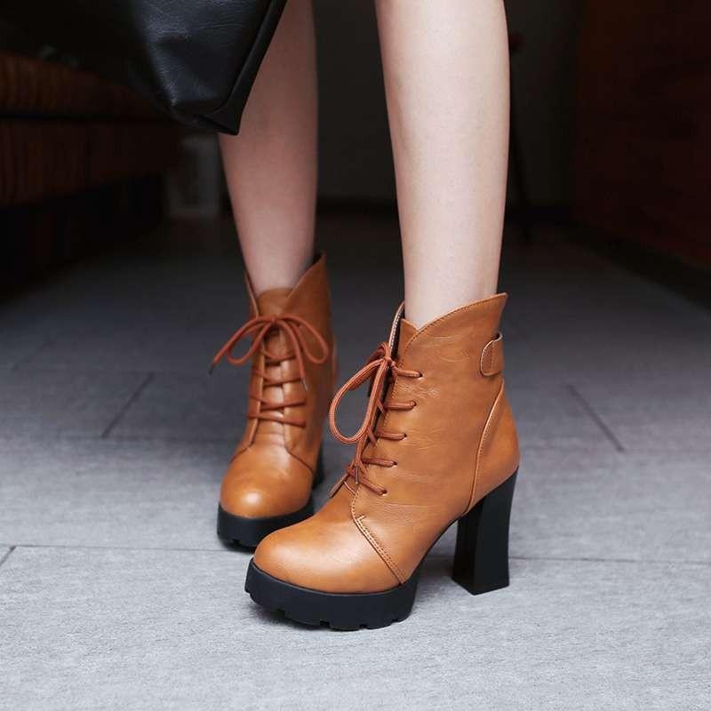 ซื้อ พลัสSize34-43 2016ใหม่เซ็กซี่ผู้หญิงสูงส้นเท้าหนารองเท้าข้อเท้าฤดูใบไม้ร่วงฤดูหนาวขี่บู๊ทรองเท้าหิมะหญิงSBT1704