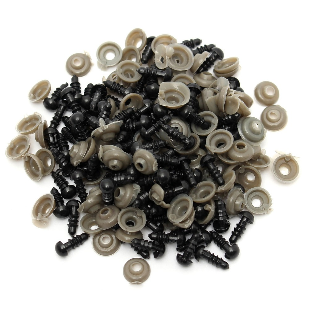 100pcs Black plastic doll eyes safety eyes For Teddy Bear Stuffed Toys Snap Animal Scrapbooking Puppet Dolls Craft eyes for toy(China (Mainland))