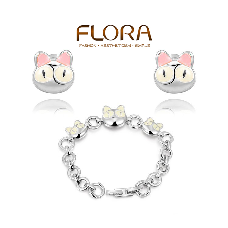 New Arrival Christmas Gift crystal enamel Cute Kitty Platinum Bracelets + Earring Wedding gold plated Jewelry Set Women(China (Mainland))