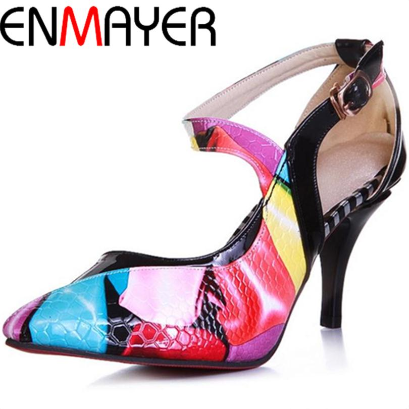 ENMAYER 2014 New Arrival High Heel Shoes Sexy Full Grain Leather Fashion Women Pointed Toe Style Platform Pumps wedding pumps<br><br>Aliexpress
