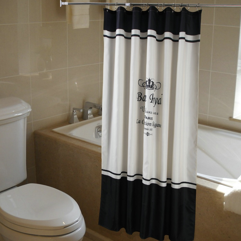 Cortinas De Baño Lavables:Black and White French Shower Curtain
