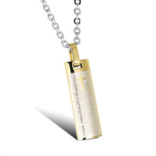 OPK Spanish Holy Bible Cross Pendant Classical Silver/Gold Stainless Steel Link Chain Necklaces Religious Men Jewelry GX970