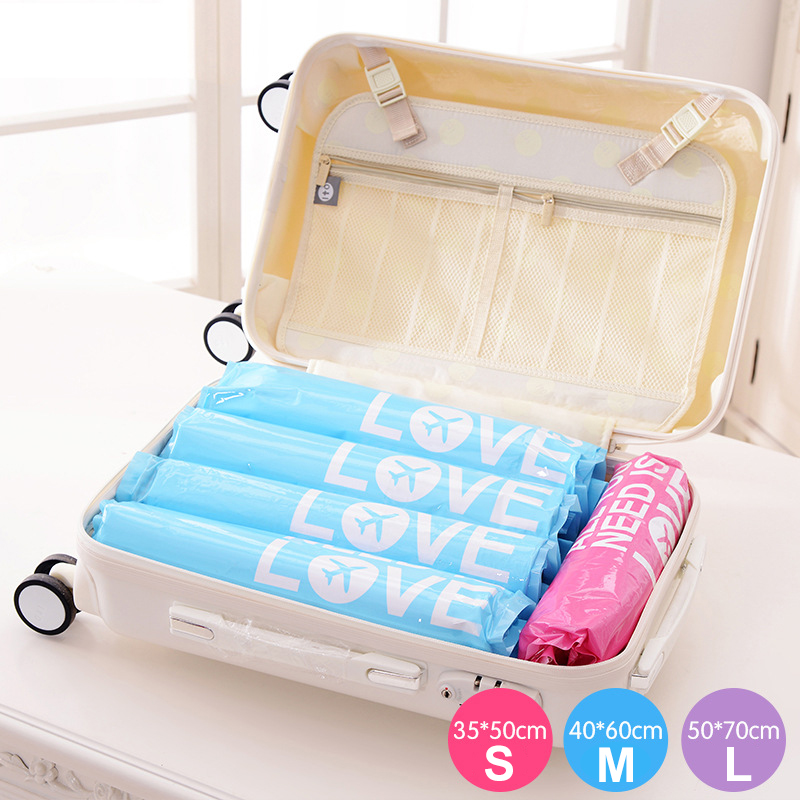 2016 2 Pcs Hand-rolled Vacuum Compression Bags Waterproof Save Space Storage Clothing Travel Bag Luggage Case Hand Pressure(China (Mainland))