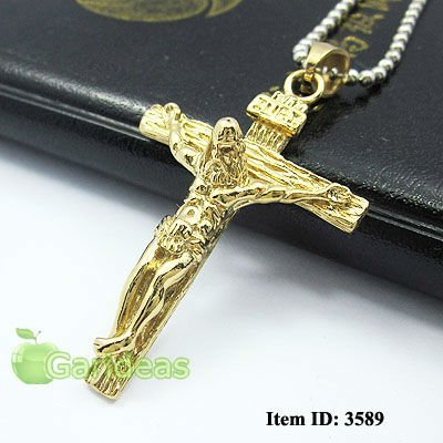Free shipping +Wholesale Men's All Gold Stainless Steel Jesus Cross Chain Pendant Necklace Cool Gift New Item ID:3589