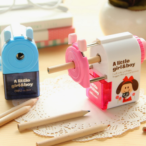 Deli Mechanical pencil sharpener machine Cute Little Girl &amp; Boy manual sharpener for kids Stationary Office School supplies <br><br>Aliexpress