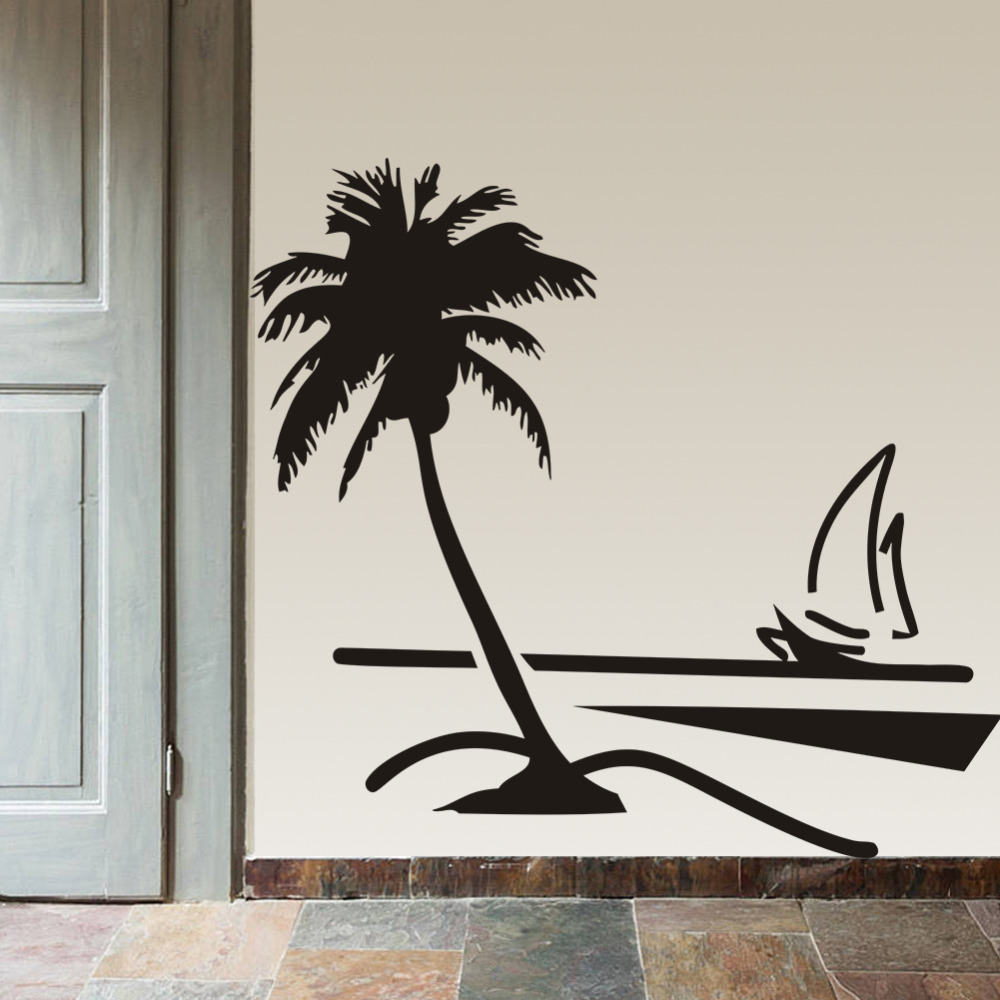 Http Www Aliexpress Com Store Product Beach Coconut Palm Tree Sailboat Wall Art Bathroom Glass Modern Art Mural 8499 Home Decor Large 1535270 32348104421 Html