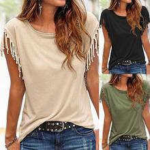 Women T Shirt Tops Knot Tassel Tee Crewneck Slim Fit Fashion Elegant S/M/L/XL/XXL Black/Khaki/Army Green T-Shirt Camisetas Mujer(China (Mainland))
