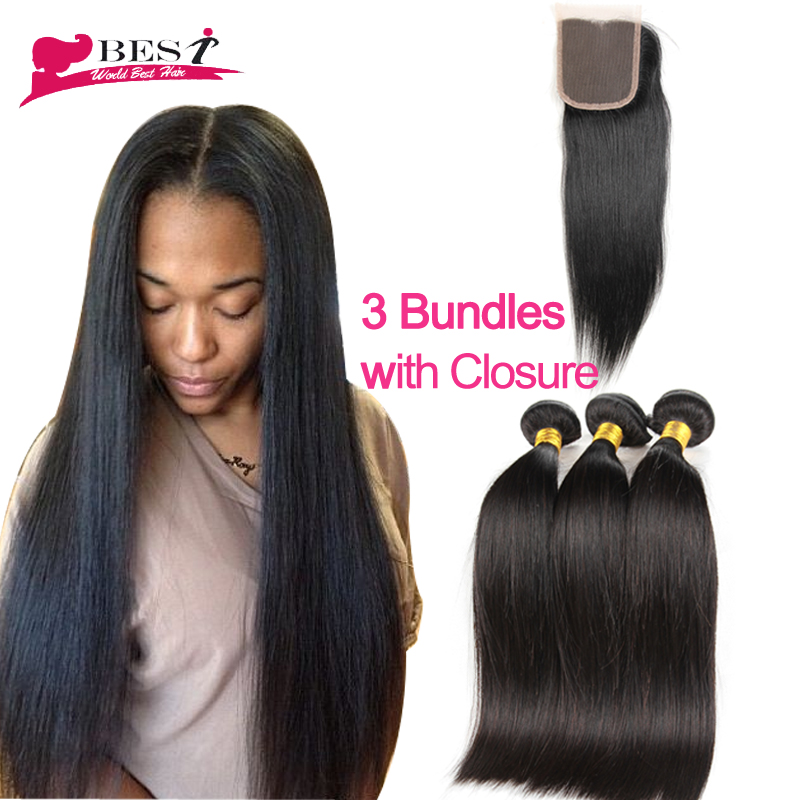 7A Peruvian Virgin Hair Straight With Closure Peruvian Virgin Hair With Closure Human Hair With Closure 3 Bundles With Closure