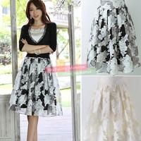 Fashion Women's Girl Elegant Bubble Flower Pattern Short Skirt Waist Skirt