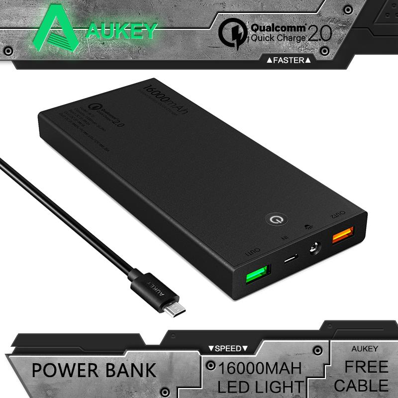 Aukey Portable Quick Charge 2.0 16000mAh Mini External Battery 5V 9V 12V Dual Usb Mobile Power Bank Support Quick Charge