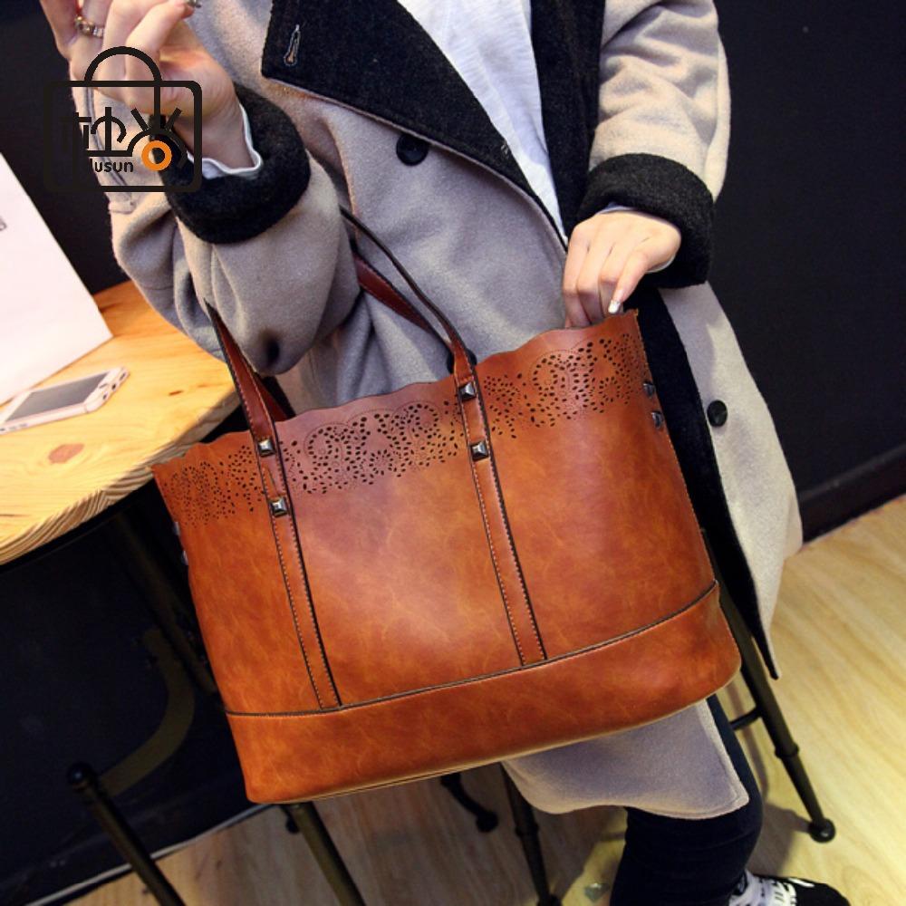 Casual Cowhide leather handbags hollow genuine bags women vintage tote 2015 summer new shoulder - Dusun store