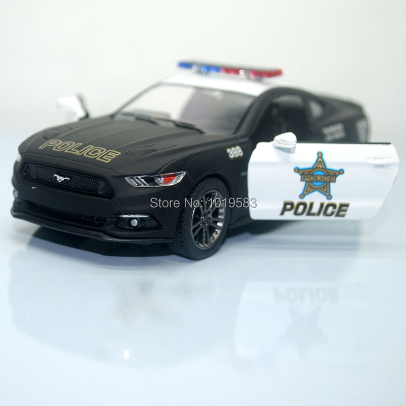 (10pcs/lot) Brand New KINGSMART 1/38 Scale Car Toys Ford Mustang 2015 Police Edition Diecast Metal Pull Back Car Model Toy(China (Mainland))