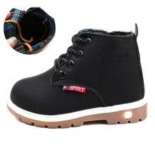 Boyutu 21-30 çocuk çizmeleri sonbahar kış bağcıklı Martin çizmeler kalınlaşmak kürk ayakkabı kaymaz su geçirmez Unisex erkek kız çizmeler #7JX0130(China)