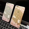 2015 New Beautiful Japan Sakur and Lovely Rabbit Transparent Soft TPU Phone Case for iPhone 5
