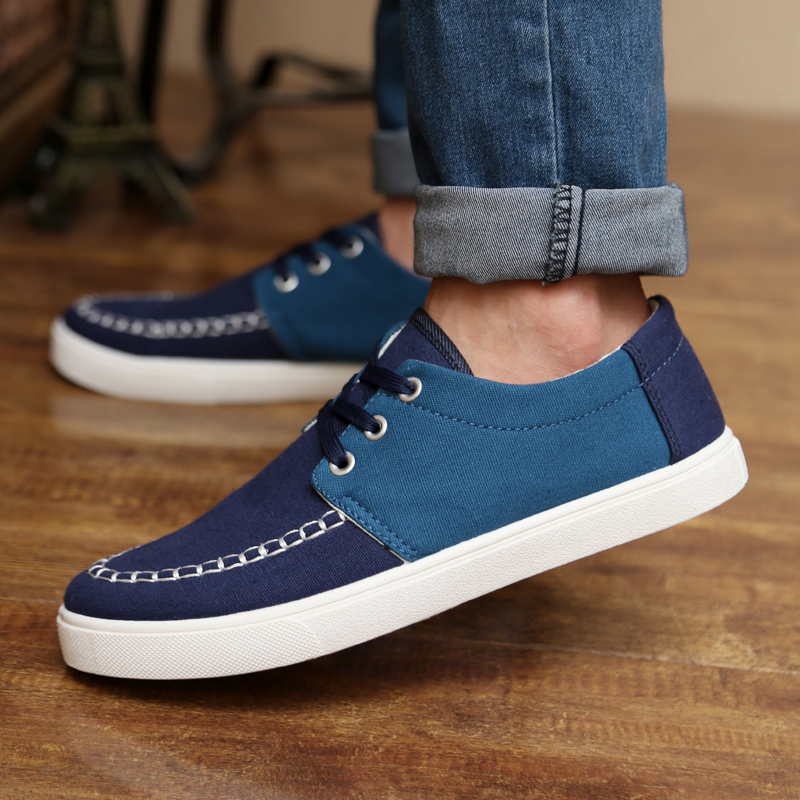 Free Shipping 2014 Men Sneakers British Style Charm White Low Canvas Shoes Men Fashion Shoes In