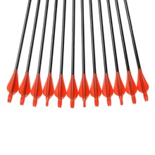 Hot Sale 12pcs Fiberglass Arrow 31 Arrowhead and Red Plastic Feather For Long Bow Arrow Hunting