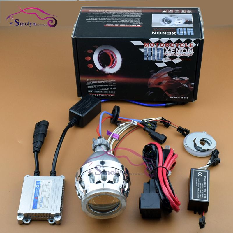 Motorcycle HID Bi xenon Projector Lens Retrofit Headlight Light Kit CCFL Double Dual Angel Eyes Halo H4 H7 4300K 6000K 8000K