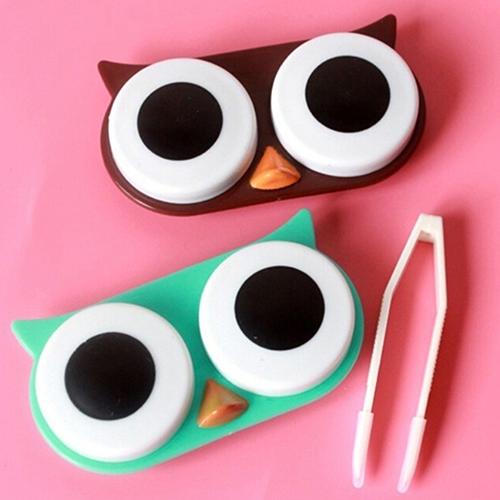 Owl Cartoon Caja de Lente de Contacto Lindo Viajes Kit de Baño De Almacenamiento Cuadro Titular de Contenedores