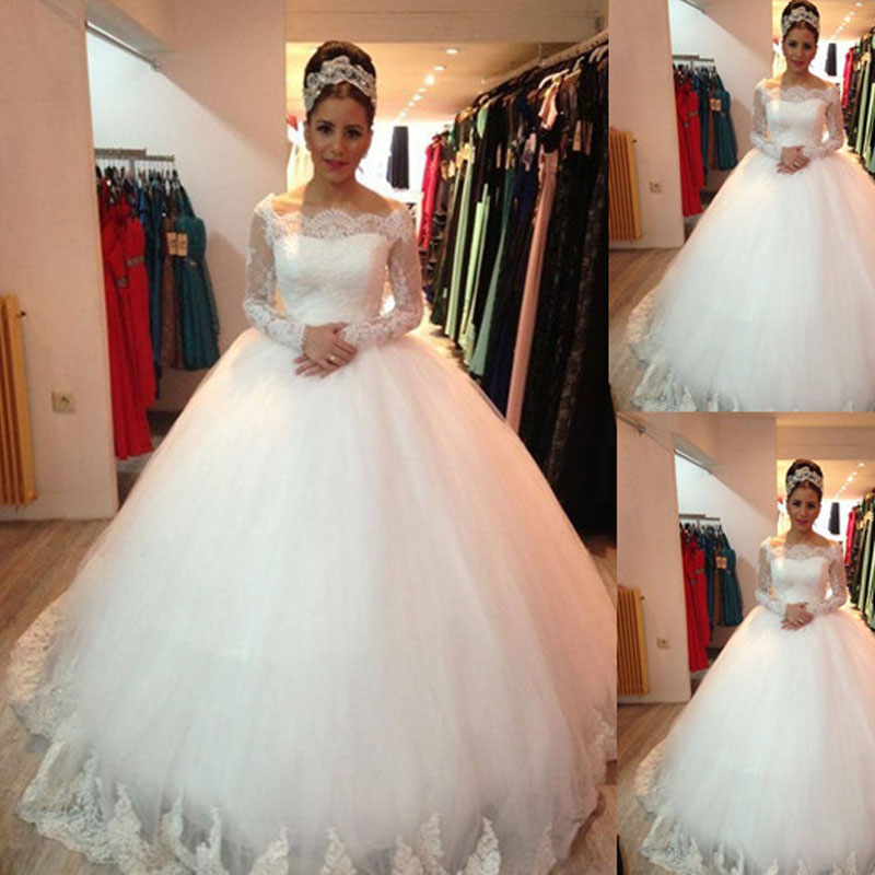 2015 country style white lace muslim wedding dresses for Country style lace wedding dress