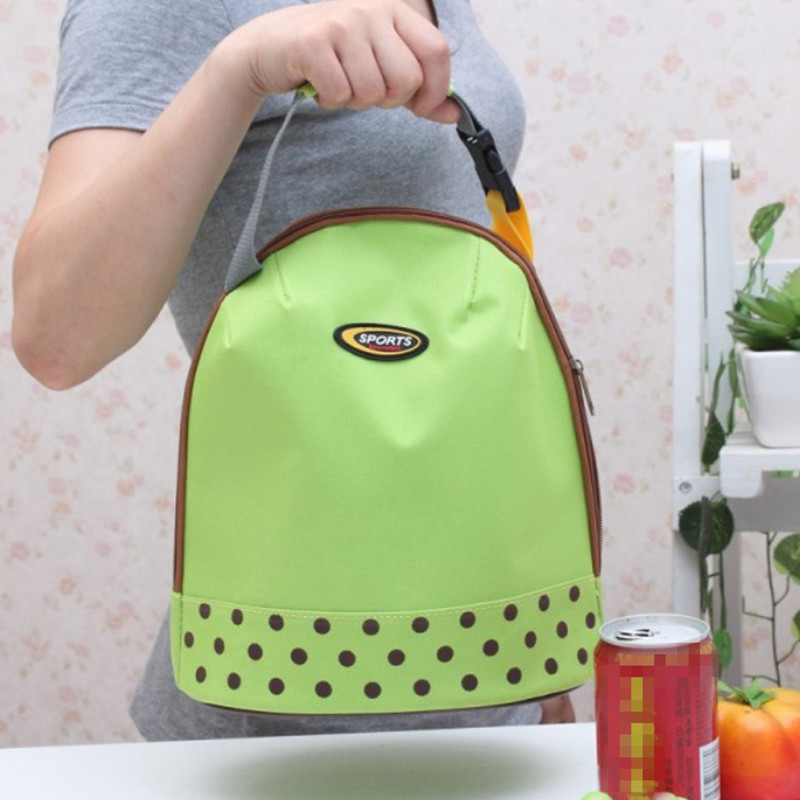 Portable Bento Pouch Lunch Bag Container Thermal Insulated Cooler Dining Travel Tote Picnic Bag Green Dot Storage Bag(China (Mainland))