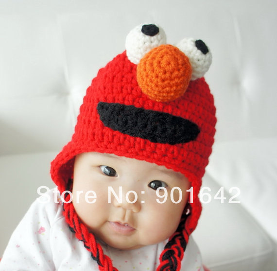 1PC Retail Crochet Elmo Hat, Inspired by Elmo on Sesame Street Crochet Cotton Beanie,Elmo Beanie S/M/L size for choice(China (Mainland))