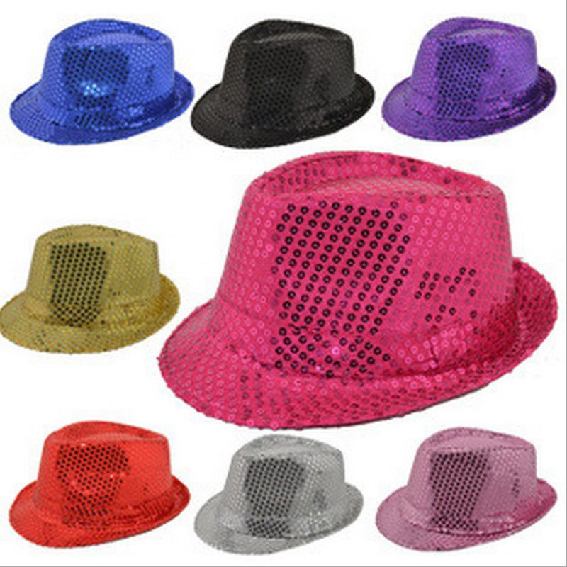Fashion Kids Adult Unisex Glitter Sequins Hat Dancing Show Party Jazz Hats Cap 99(China (Mainland))