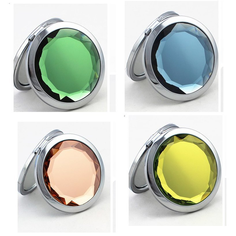 Unique Crystal Folding Makeup Mirror,Fashion Portable Small Jeweled Compact Mirrors for Women,Grooming Makeup Cosmetic Mirrors(China (Mainland))