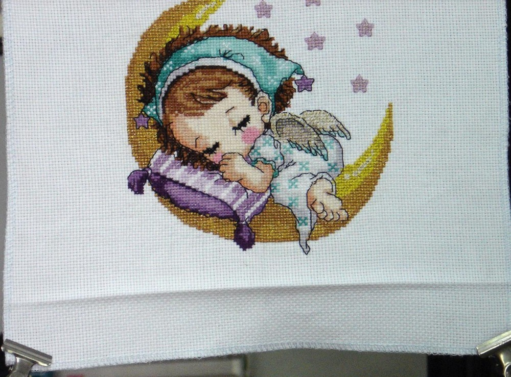 Completed finished cross stitch product, Moon Baby (girl), on 14ct cream aida fabric(China (Mainland))