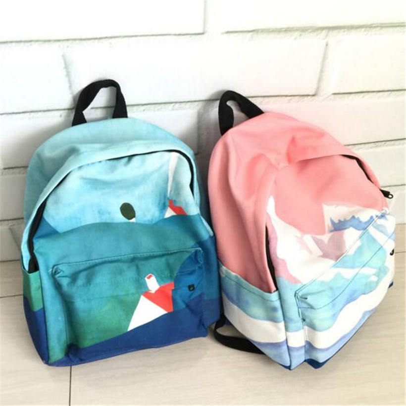 Landscape Embroidery Printing Backpack Women Casual Canvas Backpack School Bags For Teenager Girls Four Design Rucksack Mochila(China (Mainland))