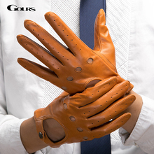 Gours Men's Fall and Winter Genuine Leather Gloves New Fashion Brand Black Warm Driving Unlined Gloves Goatskin Mittens GSM034(China (Mainland))