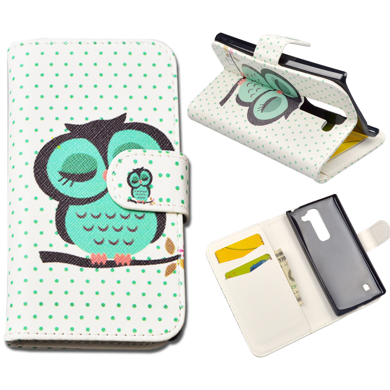 For LG Spirit 4.7inch case 10 Patterns Flip PU Leather cover for LG Spirit H440Y 4G LTE Phone bag with Stand and Card Slot(China (Mainland))