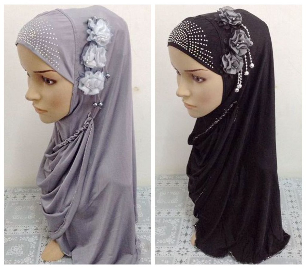 Beautiful Muslim Hijab Islamic Scarf with flower 2015 Fashion Muslim abaya Scarves Hijabs Women Muslim Headwear Islamic hijab(China (Mainland))