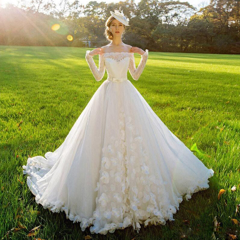 Buy Vintage Lace Ball Gown Wedding Dress Long Sleeves Off Th