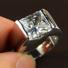 Men's 925 Sterling Silver Sqaure White Sapphire Stone Diamond Simulated Solitaire Wedding Ring Eternity Jewelry for Men(China (Mainland))