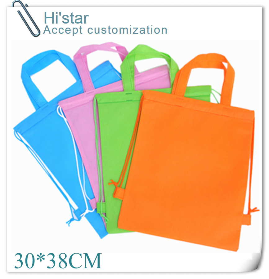 30*38CM 20pcs hot sell in Spain 2015 factory sale promotion gift PP plastic shopping non woven bag(China (Mainland))