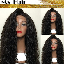 Hot! Top Quality Fiber Loose Curly Wigs Synthetic Lace Front Wigs 180% Density Black Color Heat Resistant Synthetic Hair Wigs(China (Mainland))