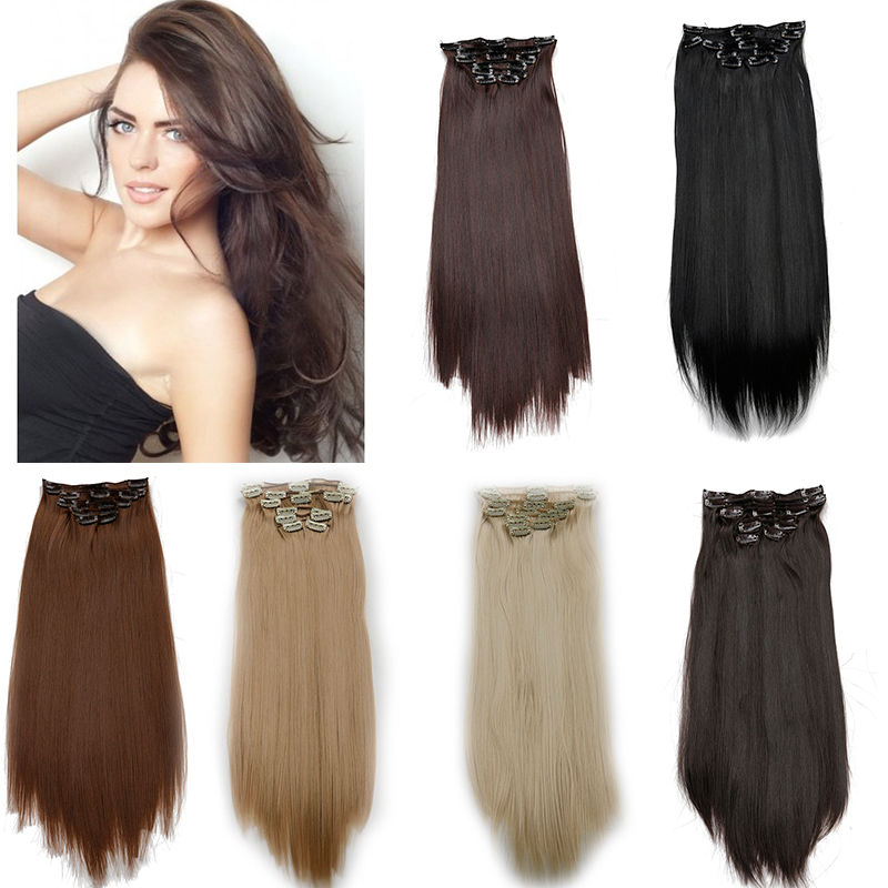 ombre Clip in Hair Extensions Long Straight Synthetic Hair blonde Clip in on hair extensions Hairpiece 20inch 8pcs/set 160g(China (Mainland))