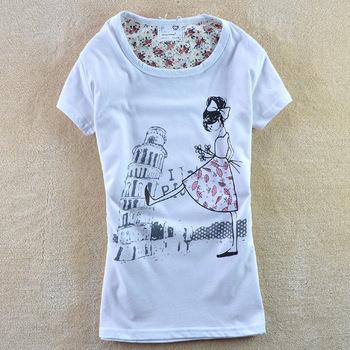 new   free shipping Mix style clothes  women's cartoon umbrella female 100% cotton o-neck short-sleeve T-shirt SZD-1004