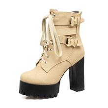 BONJOMARISA 2019 Frühling Winter frauen Knöchel Stiefel Plus Größe 33-50 Schwarz 11cm High Heels Plattform Booties lace Up Schuhe Frau(China)