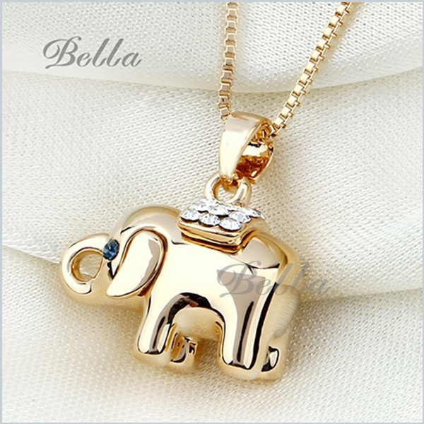 fashion necklaces for women from india pendant statement necklaces charms Blue crystal eyes elephant Pendant Necklace (X0080)(China (Mainland))