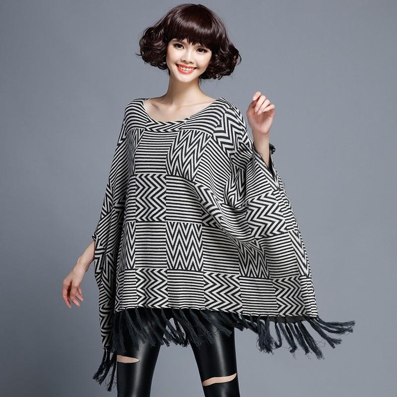 Women Tassel Plus Size Sweater 2016 Autumn Winter Hot Women Bat Sleeve Cloak Pullover Sweater Coat Female Loose Outwear Jacket