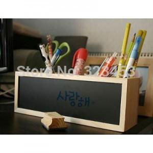 Accessories office supplies storage box Stationery blackboar Wood desk organizer pen pencil holder(China (Mainland))