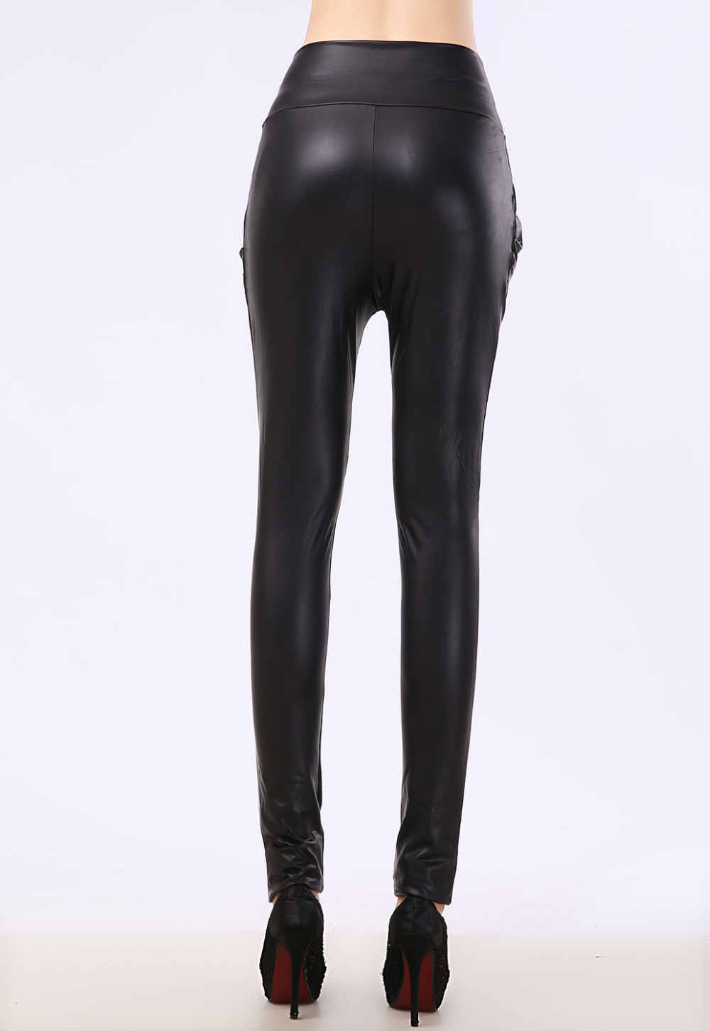 Excellent  Stylish Woman Black Leather Harem Elastic Casual Pants  Free Shipping