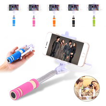 Mini Extendable Selfie Stick Handheld Remote Controller For iphone HTC Sony Self-pole Monopod+Clip Holder Wired Smartphone Case